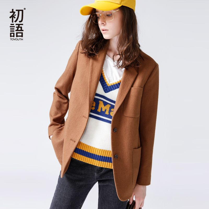 Toyouth 2018 Spring Women Woolen Coat Formal Slim Turn Down Collar Coat Single Breasted Buttons Tops Office Lady Woolen Coat