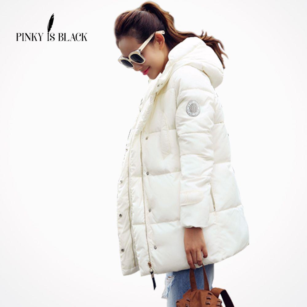 Pinky Is Black Winter Jacket Women Wadded Jacket Female Outerwear Slim Jacket Medium-Long Cotton-Padded Jacket Lady Casual Coat