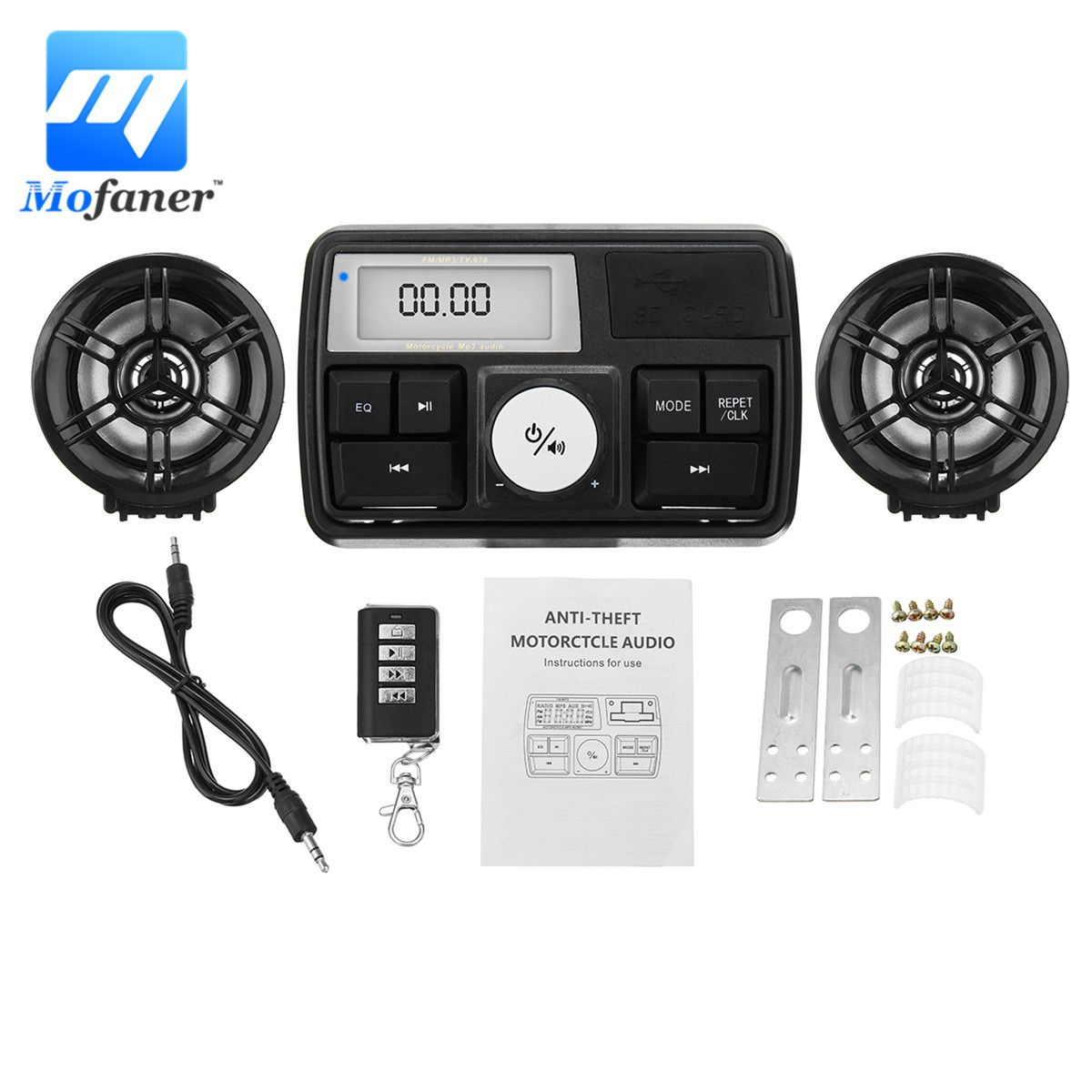 Mofaner Waterpoof Motorcycle Bluetooth Audio Sound System Stereo Speaker MP3 Radio USB Anti-theft Scooter Lock