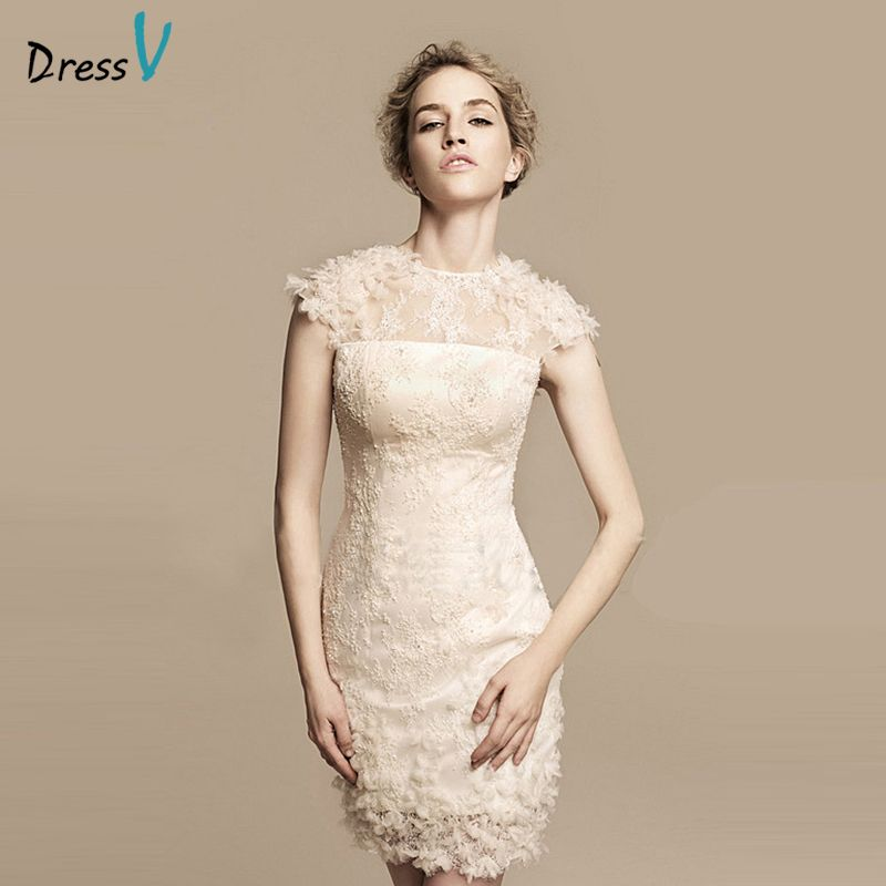 Dressv beige mini/above knee short lace cocktail dress jewel neck sheath&column sleevless cocktail dress lace formal party dress