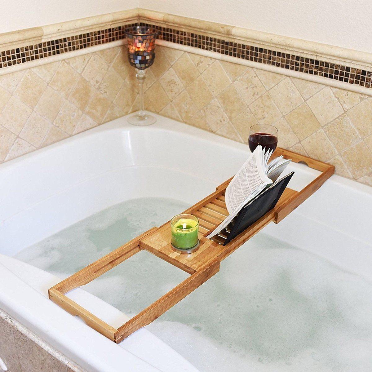 Bathroom Bath Tub Books phone Wine Cup Rack Shower Tray Holder Home Hotel Stand Sundries Organizer Adjustable Bathroom Shelves
