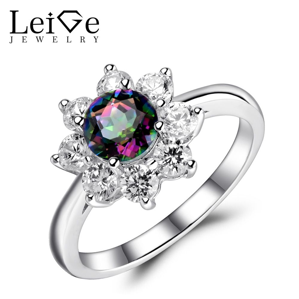 Leige Jewelry Mystic Topaz Ring Rainbow Topaz Engagement Wedding Rings Sterling Silver 925 Fine Jewelry Anniversary Gift