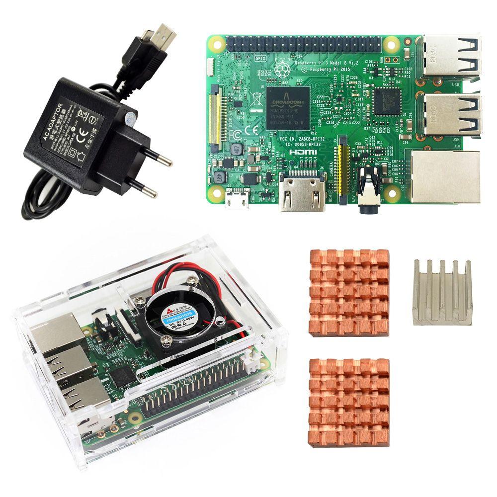 Kit de démarrage D Raspberry Pi 3 modèle B-boîtier pi 3/pi 3/fiche d'alimentation EU/avec logo dissipateurs pi3 b/pi 3b avec wifi et bluetooth