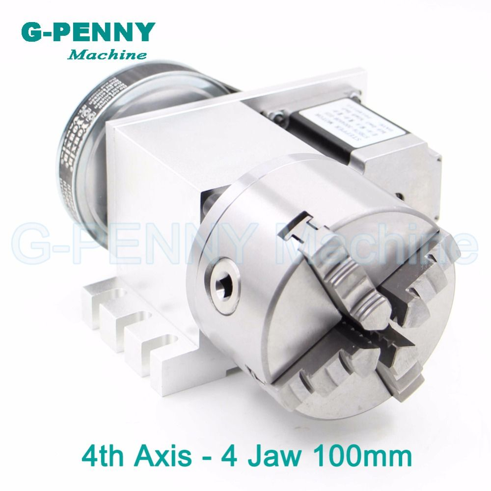 4Jaw100mm 4th Axis CNC dividing head/Rotation 6:1 Axis/A axis kit with nema23 stepper motor for CNC router woodworking engraving
