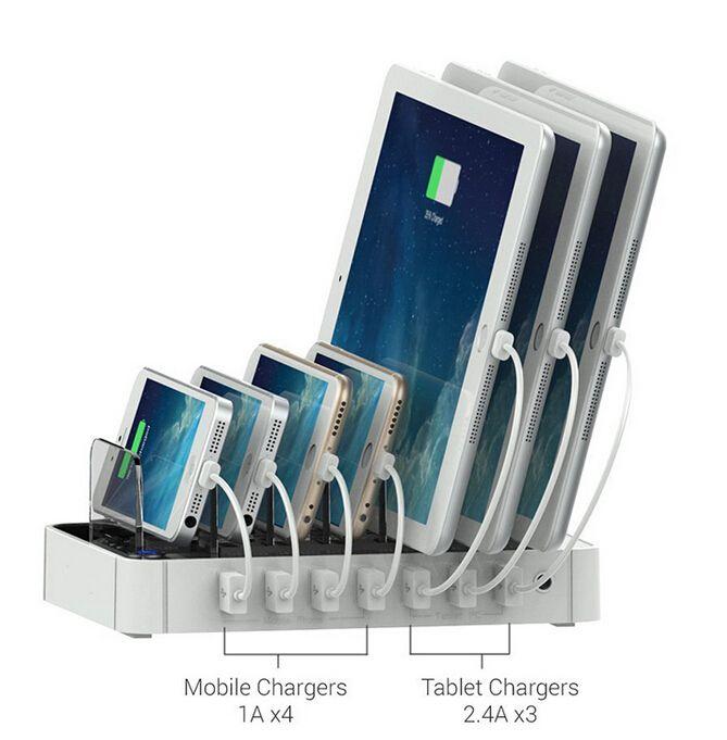 Neue tragbare 7 port multi-port usb ladestation adapter für IPhone Android handy tablet gerät (schwarz)