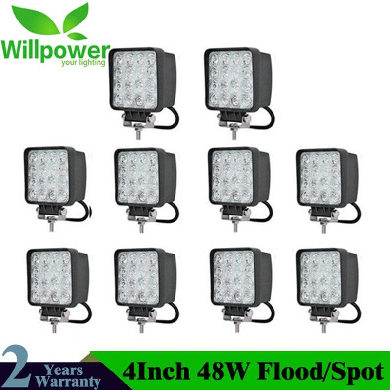 10 stücke 4inch 48W LED Arbeit Licht Lampe Für Auto 4x4 ATV LED Arbeits Lichter Lkw 12V Fahren Nebel Scheinwerfer Traktor Offroad lichter