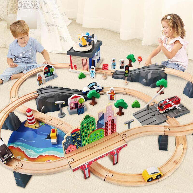 Holz Züge Track Spielzeug Set Magische Brio Track Station Brücke Zubehör Eisenbahn Modell Pädagogisches 3D Pulzze Spielzeug Für Kinder