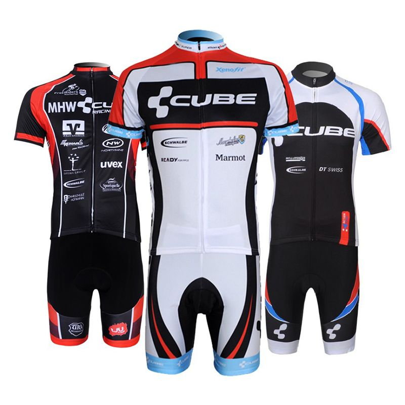 Breathable 9D pad <font><b>CUBE</b></font> cycling clothing short sleeve cycling set men team 2018