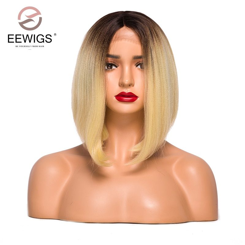 Short Bob Lace Front Wigs Synthetic for Women Yaki Straight Ombre Brown to Blonde 2 Tones 12