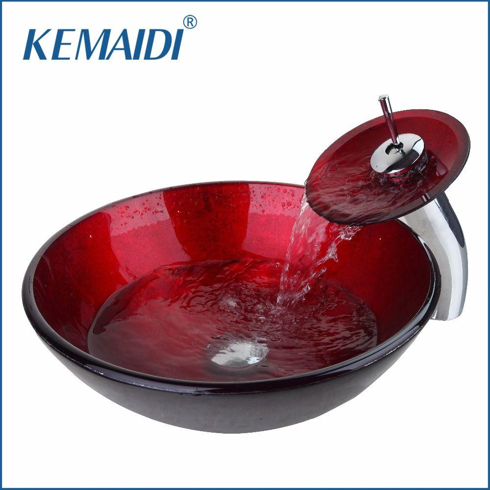 KEMAIDI Luxury Combo Set Mixer Round Taps Sink Faucet Pop Up Drain Bathroom Glass Basin Vanity Waterfall Spout Chrome Bath Set