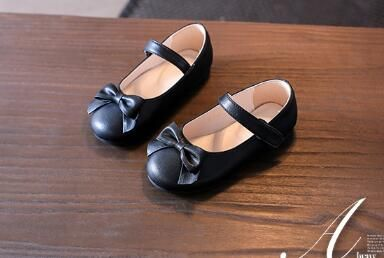 2018 spring and autumn models in the big boy bow small shoes girls