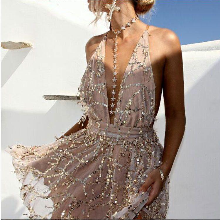 2018 robes de soirée Sexy robes femmes dos nu licou noir or Mini robe de fête gland robe d'été femmes tenue de club