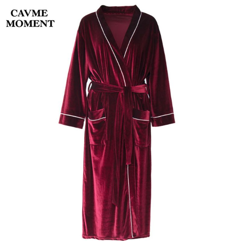 Cavme CUSTOM Winter Felour Bathrobe Wedding Bride Long Kimono Velvet Sleepwear Night Gown Dressing Solid Gray Green Blue Red