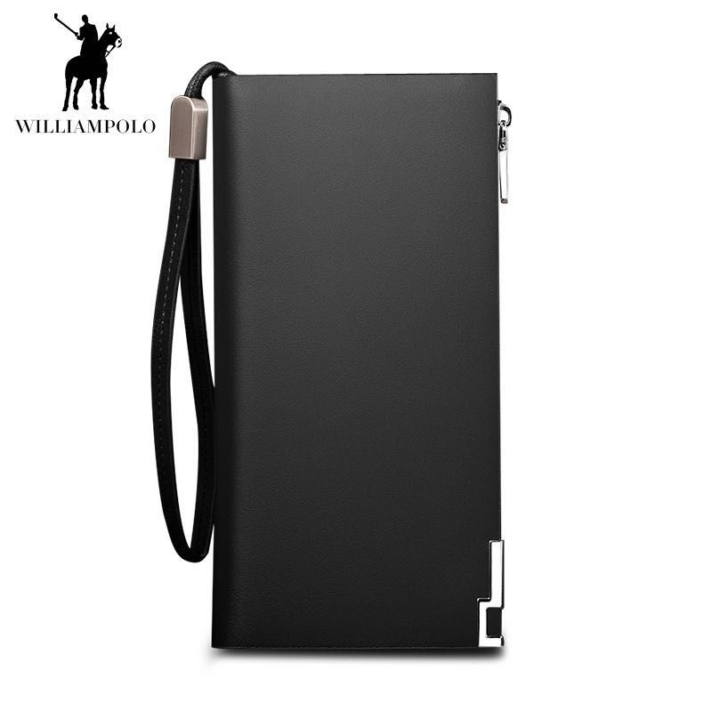 WILLIAMPOLO Lange Echtem Leder Männer Brieftasche Mode-Design Pailletten Telefon Kreditkarte Halter Brieftasche Kuh Leder