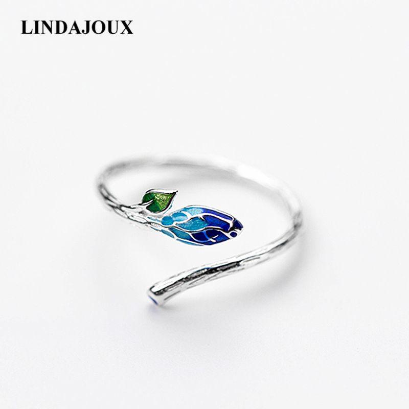 LINDAJOUX 925 Sterling Silver Retro Ethnic Enamel Leaf Open Ring For Women S925 Resizable Wedding Engagement Rings DropShipping