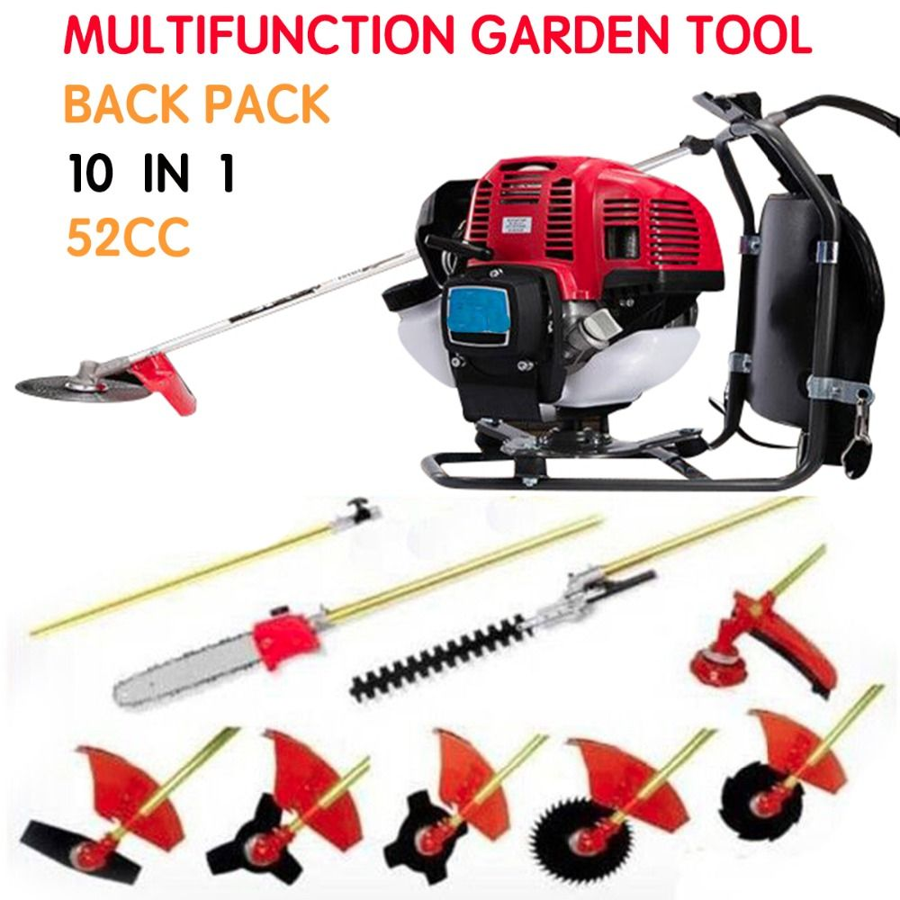 Multi Lawn mower Backpack 52cc Long Reach Pole Chainsaw, Petrol Chain Saw Brush Cutter Pruner tree