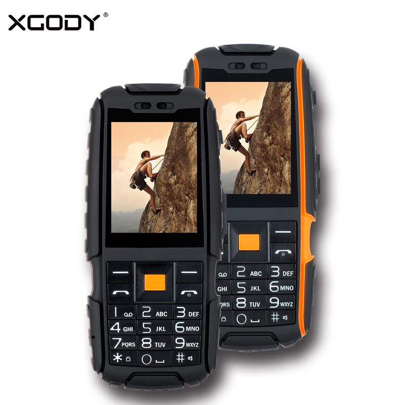 XGODY A9 Rugged Waterproof Shockproof Phone Russian Keyboard 2.4 Inch TFT Unlock 2G Dual Sim Dustproof 4800mAh Key Mobile Phone