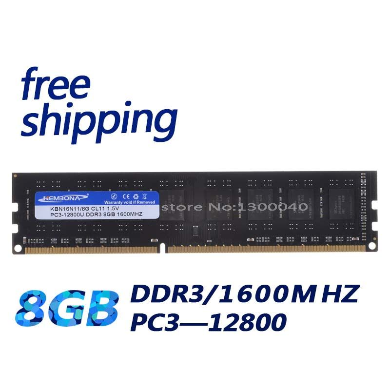 KEMBONA free shipping best price full compatible for all motherboard DDR3 1600mhz PC3-128000 ddr3 8GB