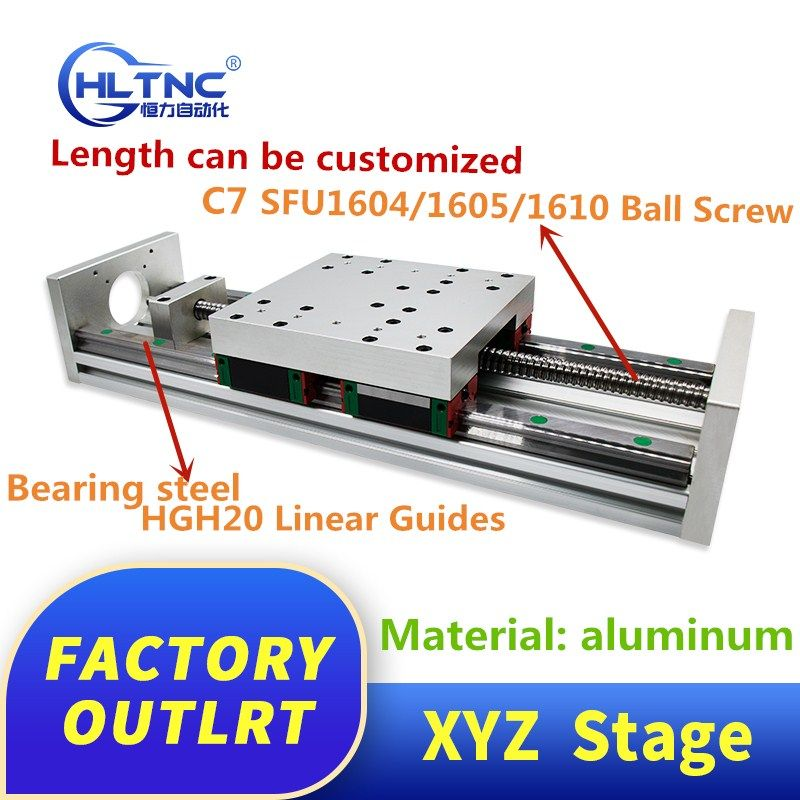 XYZ achsen Slide Linear Bühne SFU1605 Ball Schraube + HGH20 Linear Guide für CNC teile name 23 34 stepper motor