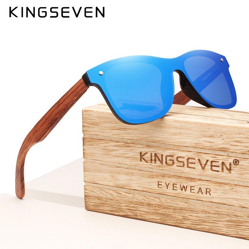 KINGSEVEN marque 2019 lunettes de soleil Vintage en bois hommes polarisées lentille plate sans monture cadre carré femmes lunettes de soleil Oculos Gafas