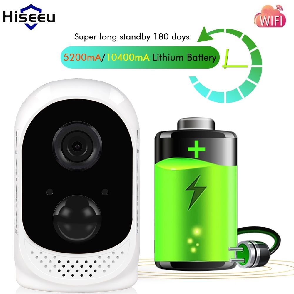 Hiseeu PIR 10400mA Rechargeable Battery Power Outdoor Wireless IP Camera Waterproof CCTV Full 1080P Motion Detection Microshare