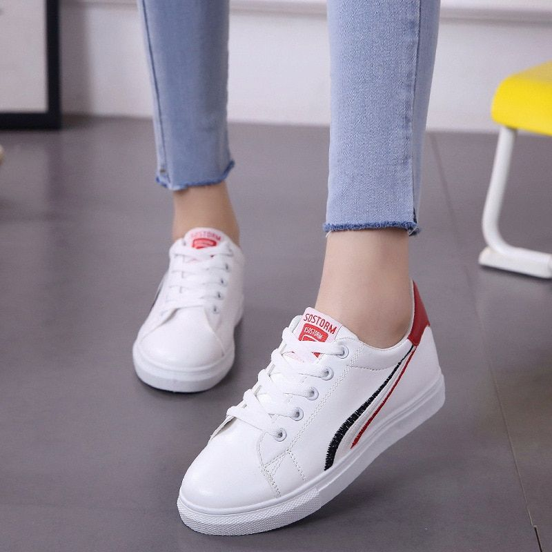 Small Woman Spring And Autumn Season 2018 New Pattern Joker Student Flange Time Sneakers Skate Shoes Foreign Trade