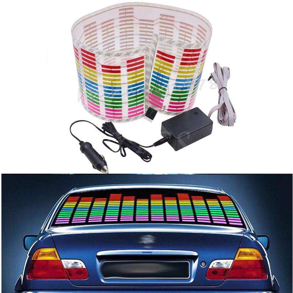 New 80*19cm Rhythm Music Activated Equalizer Car Decration Sticker Glow Flash Panel Multi Designs LED Car Music Light