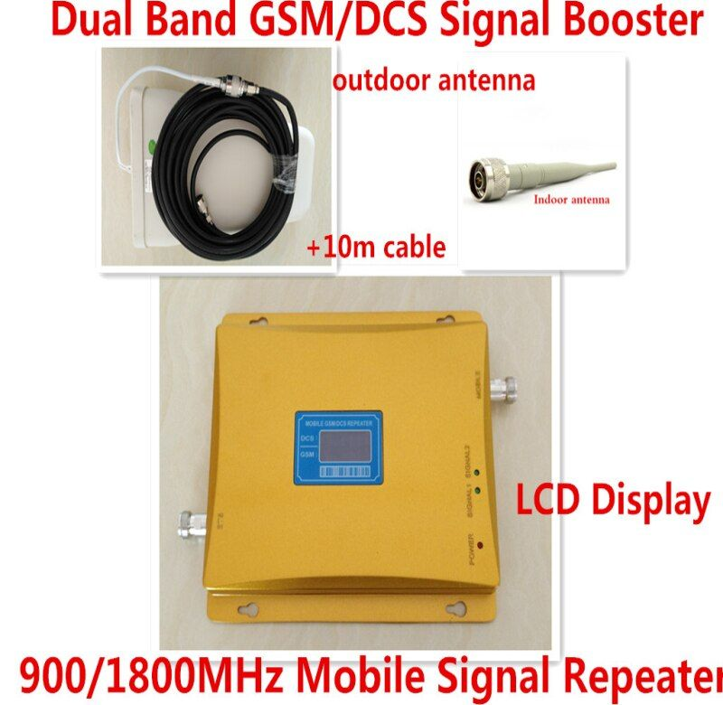 Best Price 1 Set Dual Band 4G GSM Repeater + Antenna ! LCD Display GSM 900MHz DCS 1800MHz Mobile Phone Signal Booster Amplifier