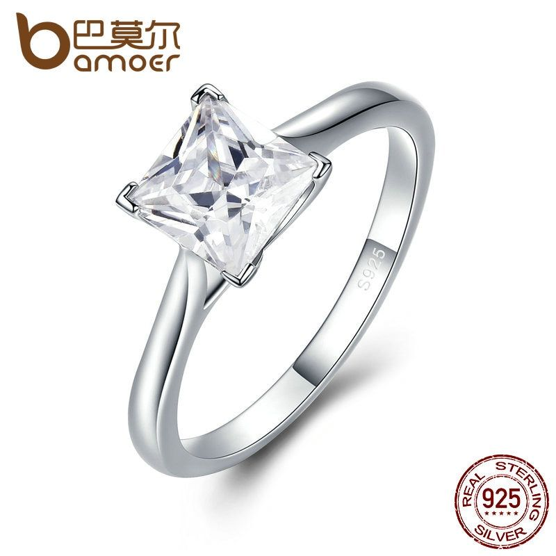 BAMOER Genuine 925 Sterling Silver High Quality Princess Cut Rings for Women,Clear Zircon Engagement Ring Wedding Jewelry SCR044