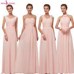 Long Chiffon Blush Pink Bridesmaid Dresses  A-Line Vestido De Festa De Casamen Formal Party Prom Dresses