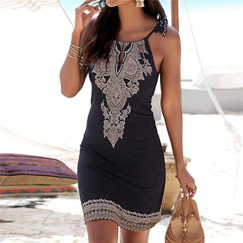 Femmes robe 2018 été licou cou bohème imprimer sans manches décontracté Mini plage robe de soleil Vestido de senhora livraison directe 8710