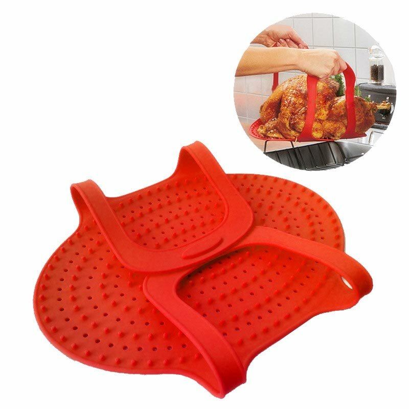 YFGXBHMX High Temperature Silicone Baking Pan Turkey Folding Filter Roast Duck Barbecue Pad Oven Grill Kitchen Supplies