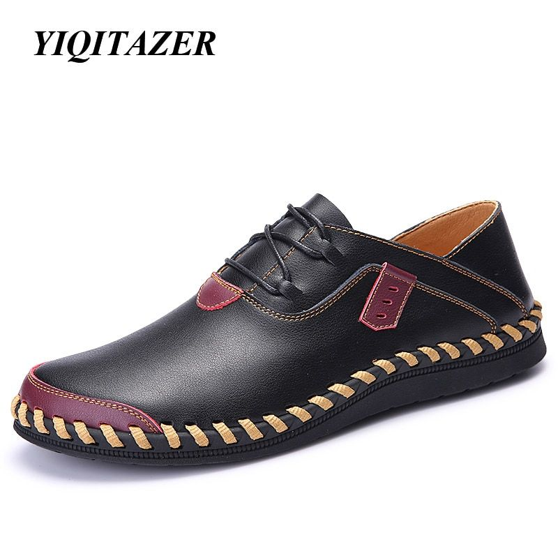 YIQITAZER 2017 Spring Fashion New Man Leather Shoes Casual,Rubber Soles Quality Leather Flats Mens Boat Shoes Black Brown