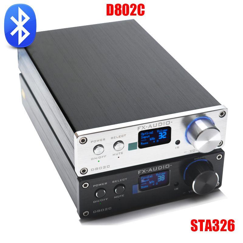 FX-Audio D802C Wireless Bluetooth Version Input USB/AUX/Optical/Coaxial Pure <font><b>Digital</b></font> Audio Amplifier 24Bit/192KHz 80W+80W OLED