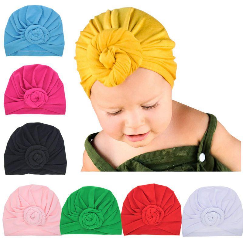 Bnaturalwell новорожденных тюрбан цветок Детские Симпатичные шляпа Винтаж Стиль Топ узел тюрбан детские мягкие шапочки для малышей Кепки H068