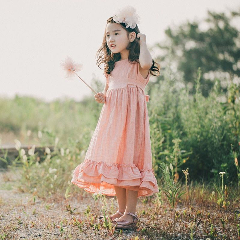 2018 été nouvelle fille coton lin longue robe enfants sans manches robe de princesse filles belle une pièce enfants robe d'été