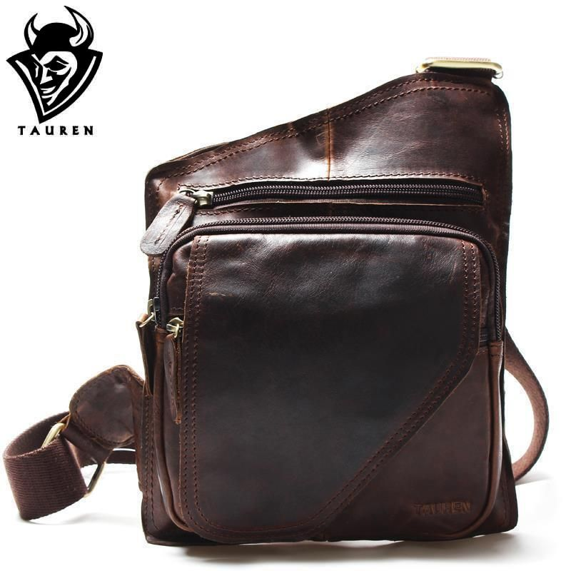 New High Quality Vintage Casual Crazy Horse Leather Genuine Cowhide Men Chest Bag Small Messenger Bags For Man Shoulder Bags