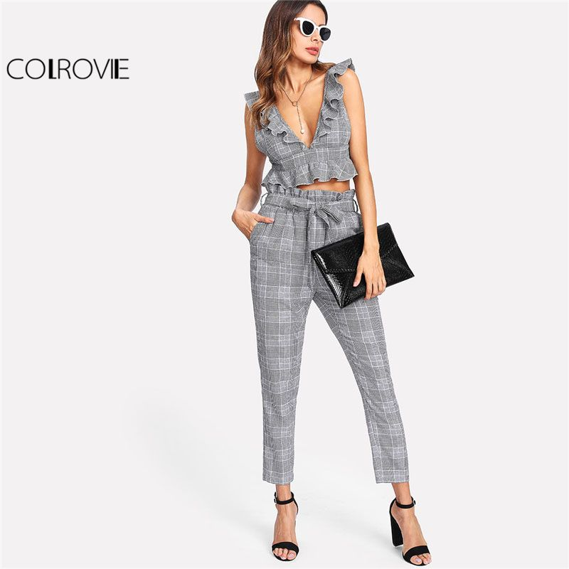 COLROVIE Plaid Deep V Neck Top & Self Belt Pants Set Women Grey Ruffle Sleeveless Backless Sexy Twopiece 2018 Casual 2 Pieces