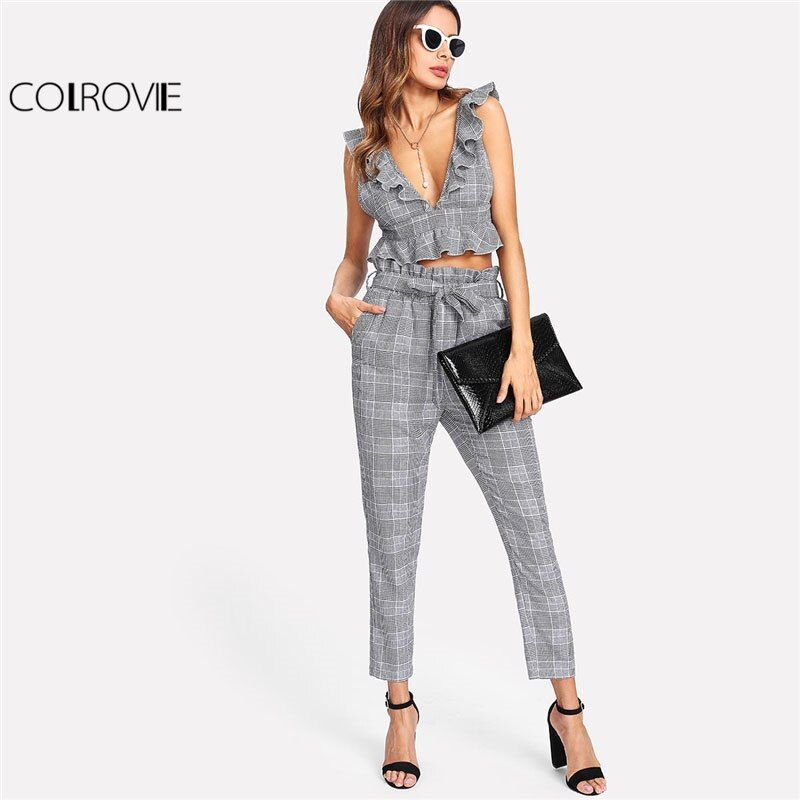 COLROVIE Plaid Deep V Neck Top & <font><b>Self</b></font> Belt Pants Set Women Grey Ruffle Sleeveless Backless Sexy Twopiece 2018 Casual 2 Pieces