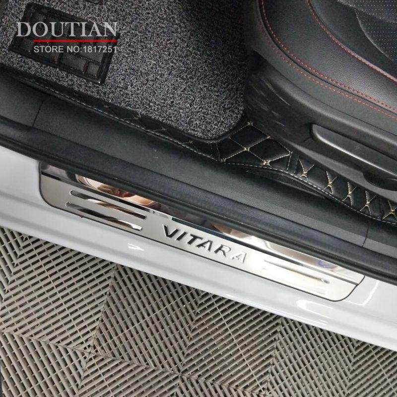 Haute qualité acier inoxydable seuil de porte plaque de seuil bienvenue pédale pour Suzuki Vitara 2018 2017 2016 voiture style accessoires 4 pièces
