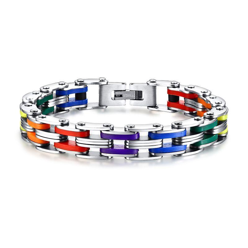 Bracelet en acier inoxydable Silicone hommes Bracelet couleur arc-en-ciel 316L en acier inoxydable fermoir Bracelet pour hommes femmes