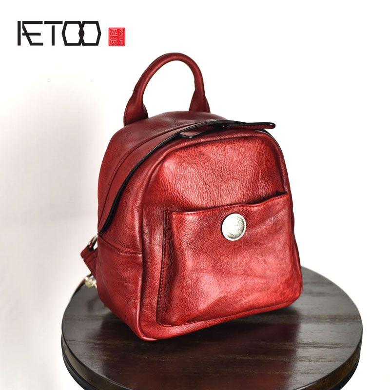 AETOO Original design der ersten schicht von leder handgemachte gerberei multi-funktionale mini weibliche rucksack retro leder