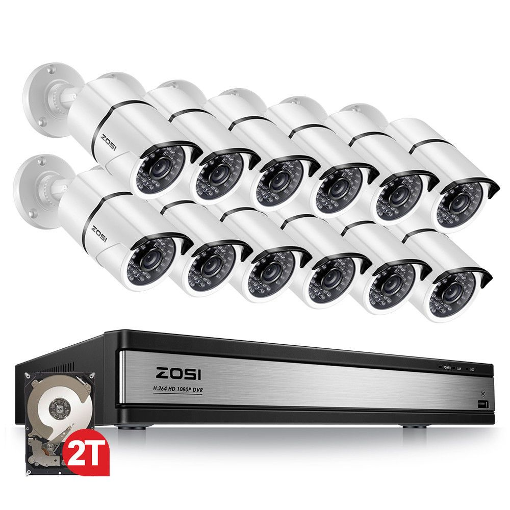 ZOSI 16CH 1080p Sicherheit Kamera System mit 12 2.0MP Outdoor/Indoor CCTV Kugel Überwachung Kamera mit 100ft Lange nacht Vision