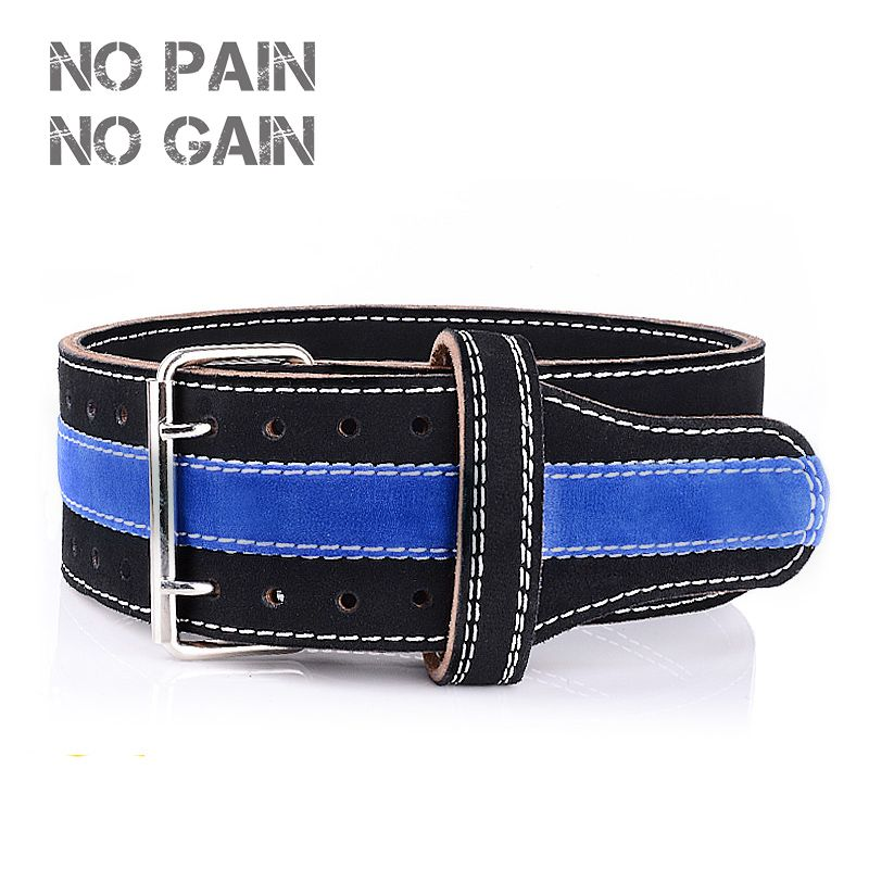 NO PAIN NO GAIN Weightlifting Belt Five Cowhide Leather Protection Gym Fitness Training Powerlifting Weight High Quality WCYD