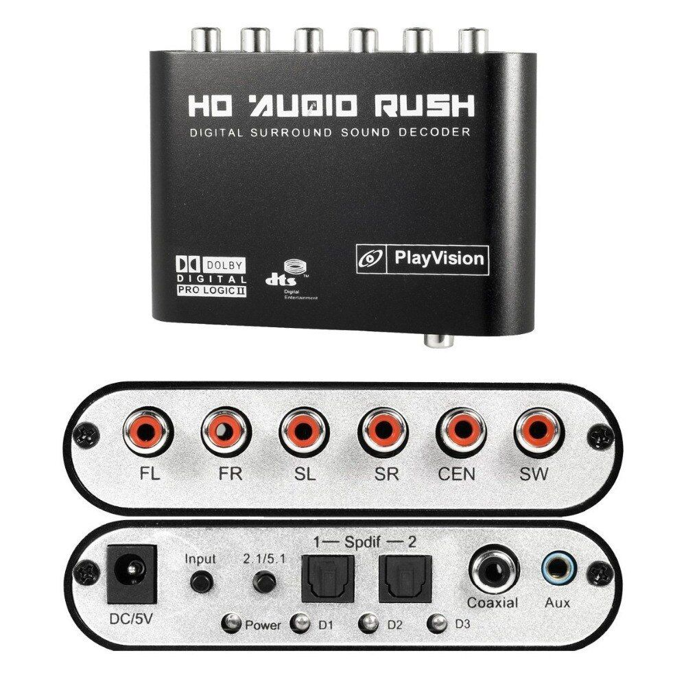 5,1 Audio Rush Digital Sound Decoder Konverter-Optische SPDIF/Coaxial Dolby AC3 DTS stereo (R/L) zu 5.1CH Analog Audio