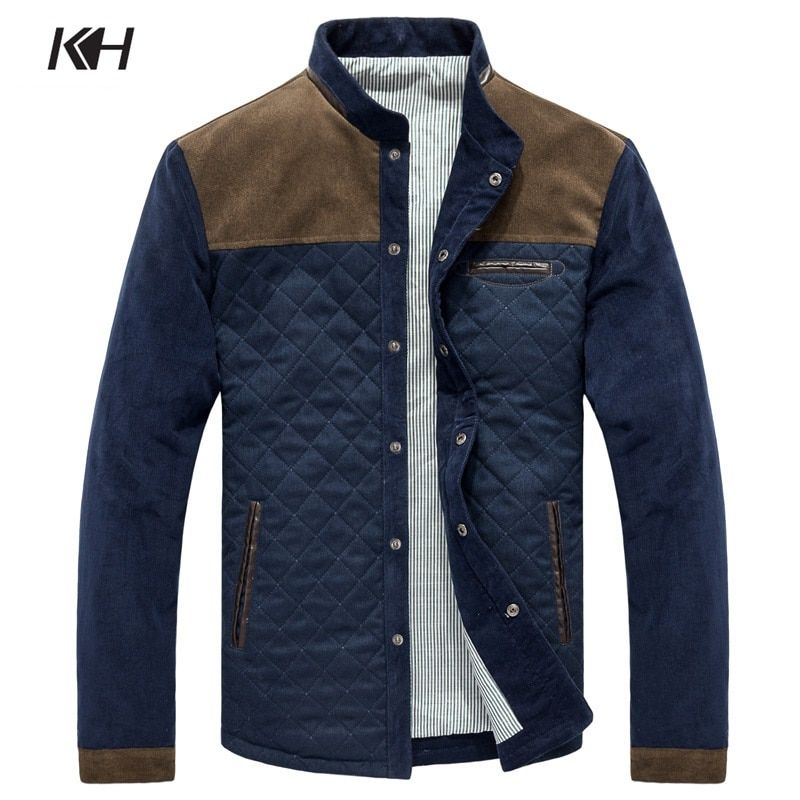 Dropshipping Fashion Spring Autumn Men's Jacket Mens Casual Stand collar Corduroy Patchwork Plaid Coat Male Jacket Men's Clothes