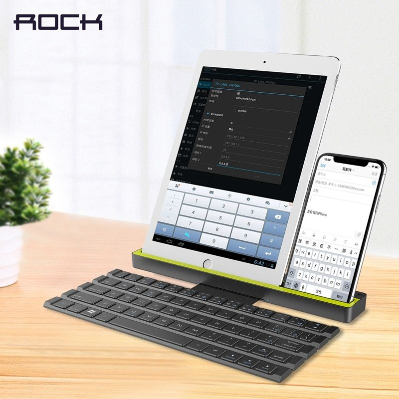 Foldable Bluetooth Keyboard for iPad Pro Mini Air, ROCK Multi-Function Rollable Bluetooth Keyboard for iPhone Quick to Switch