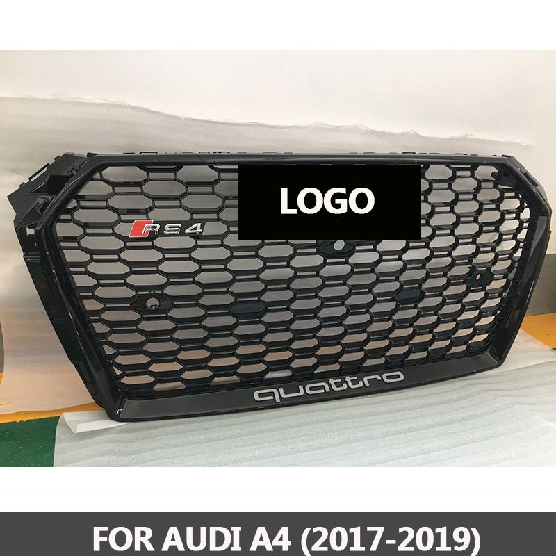 B9 Grill RS4-Styling A4 ABS Black Painted Front Honey Mesh Grille for Audi A4 S4 RS4 B9 Sedan / Coupe / Convertible 2017-2019