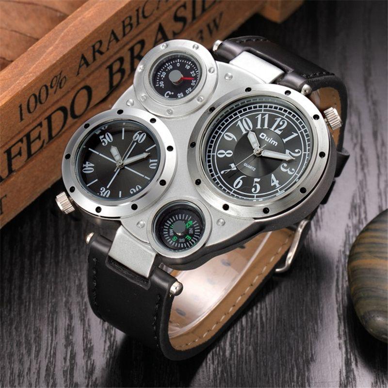 Oulm Men Watches Antique Male Quartz Watch Top Brand Luxury Sport Wristwatch Man Casual Leather Strap Watch <font><b>relojes</b></font> hombre