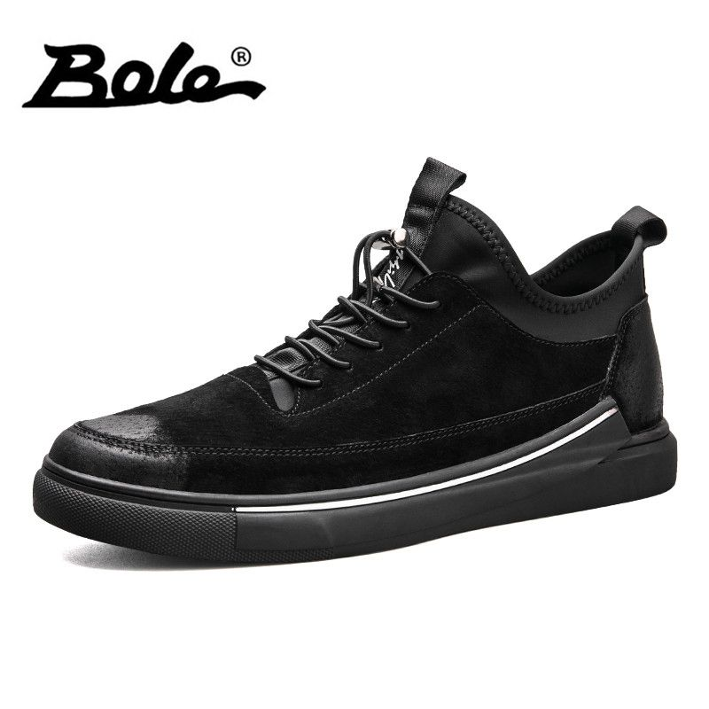 BOLE New Arrivel Leather Sneakers Men Rubber Non-slip Shoes Fashion Lace Up Footwear Comfortable Casual Shoes for Men